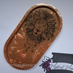 Handmade Resin Tray. Copper lion design