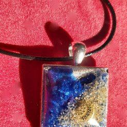 Hidden Depths Domed Resin Necklace on a Square Metal Bezel