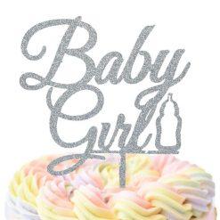 Baby Girl With Bottle Cake Topper, Birthday Girl Cake Topper