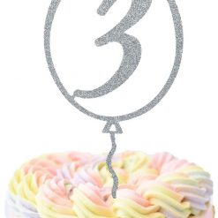 Custom Balloon With Age Cake Topper, Birthday Cake Topper