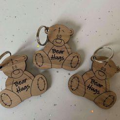 oak veneer bear hugs keyrings