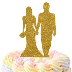Bride And Groom Holding Hands Cake Topper, Wedding Cake Topper