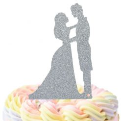 Bride And Groom Facing Each Other Cake Topper, Wedding Cake Topper