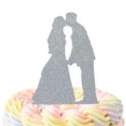 Bride And Groom Holding Hands Kissing Cake Topper, Wedding Cake Topper