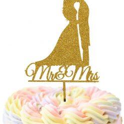 Mr & Mrs Bride And Groom Kissing Wedding Cake Topper, Wedding Cake Topper