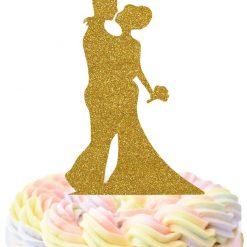 Bride And Groom Kissing Cake Topper, Wedding Cake Topper