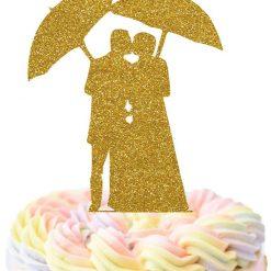 Bride And Groom Kissing Under Umbrella Cake Topper, Wedding Cake Topper