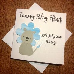 Personalised New Baby Boy card / keepsake. Baby boy card, baby lion, new baby card
