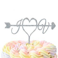 Custom Initials With Arrow Through Heart Cake Topper, Wedding Cake