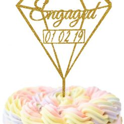 Customize Diamond Engaged With Date Cake Topper