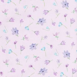 Michael Miller Fabric Dreaming of Tuscany Watercolour Flowers Mauve - FQ-Metre 100% Cotton