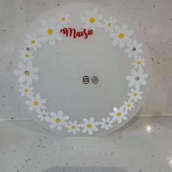 Acrylic ear ring tidy can be personalised