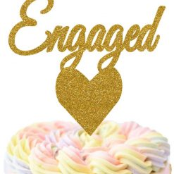 Engaged With Heart Cake Topper