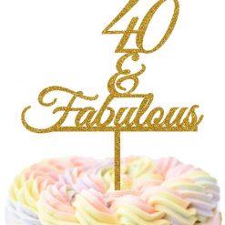 40 & Fabulous Cake topper, Birthday Cake Topper, 40th cake topper