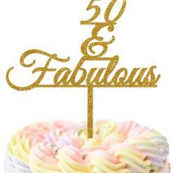 50 & Fabulous Cake Topper, Birthday Cake Topper, 50th Cake Topper