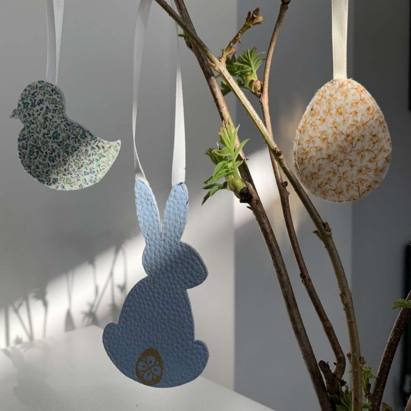 Easter decorations made with Liberty tana lawn and faux leather