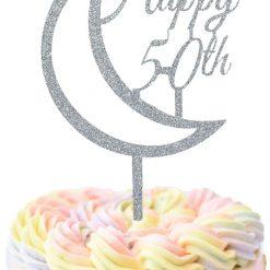 Custom Happy Birthday Year With Moon Cake Topper