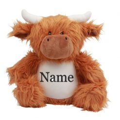 Mumbles Highland Cow Teddy Bear Personalised Embroidered Name.
