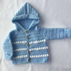 Cute crochet hooded jacket approx age 1-4 months