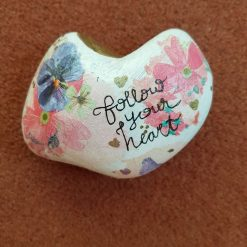 Decoupage and hand painted heart shaped pebble. Follow your heart.