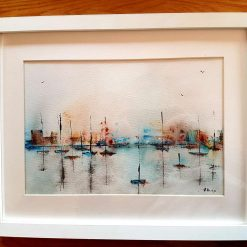 Abstract harbour. Original. Framed watercolour