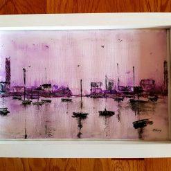 Abstract  violet harbour. Original Watercolour