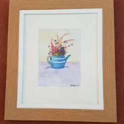 Blossom in a teapot Framed watercolour print