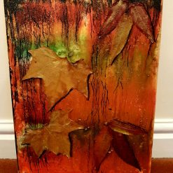 Abstract Rustic leaves on cotton canvas.
