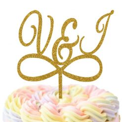 Custom Initials With Infinity Cake Topper, Wedding Cake Topper