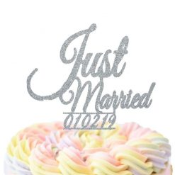 Custom Just Married With Date Cake Topper, Wedding Cake Topper