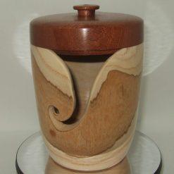 Hand Turned ASh & Mahogany lidded Yarn Bowl