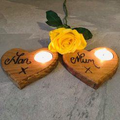 Mothers day / Nan / solid oak tea light holders