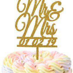 Custom Mr & Mrs With Date Cake Topper, Wedding Cake Topper