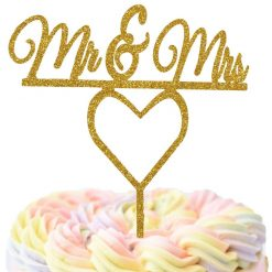 Mr & Mrs With Heart Cake Topper