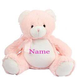 Mumbles Pink Teddy Bear Personalised Embroidered Name.