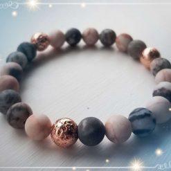 Natural Pink Zebra Jasper Beads Elastic Bracelet