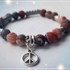 Matte Agate with Peace Sign Charm Adjustable Bracelet