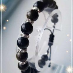 Natural Golden Sheen Obsidian adjustable Bracelet