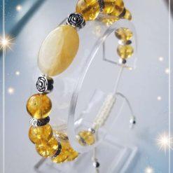 Natural Topaz Jade with Citrine adjustable Bracelet