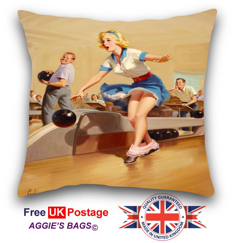 Pinup Girl At Door Cushion Cover, Vintage Pin up Girl Pillowcase