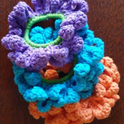 Crochet flowers hair scrunchie trio