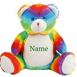 Mumbles  Rainbow Teddy Bear Personalised Embroidered Name.