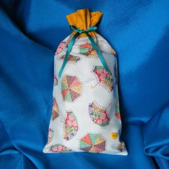 Reusable fabric gift bag (orange umbrellas)