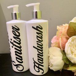 White Pump Bottles, Mrs Hinch Style, Bathroom Decor, Kitchen Decor, bodycream, make up remover