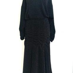Vintage Ruffled Black Dress Size Medium / Large