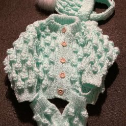 Hand knitted baby set mint green, cardigan, bobble hat and mittens 0-6months