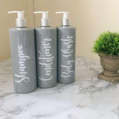 MRS HINCH INSPIRED, GREY PUMP BOTTLES - SET OF 4-500ml Personalised Reusable Bathroom Pump Bottles Shampoo Conditioner Bottle Dispenser Set Storage Mrs Hinch