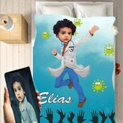 Personalised Doctor Boy Blanket Baby Home Decor Kids Nursery Room Decor Baby Gifts