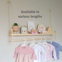 Nursery Shelf with Clothes Rail, Rope Shelf, Swing Shelf, Nordic Style Hanging Shelf, Wooden Shelf, Bedroom Shelf, Floating Shelf, Nursery Decor, Nursery Shelf with Hanging Rail, Pine Shelf