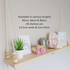Nursery Shelf, Rope Shelf, Swing Shelf, Nordic Style Shelf, Scandia Shelf, Wooden Shelf, Bedroom Shelf, Floating Shelf, Nursery Decor, Pine Shelf